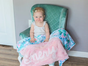 Succulent Floral Minky Blanket with Personalized Name