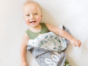 Personalized Eucalyptus Small Lovey Blanket