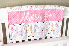 Load image into Gallery viewer, Pink Floral Unicorn Personalized Baby Girl Blanket