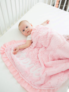 Personalized Light Pink Fur Floral Blanket with Satin Ruffle