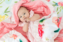 Load image into Gallery viewer, Coral Floral Personalized Baby Girl Blanket with Satin Ruffle