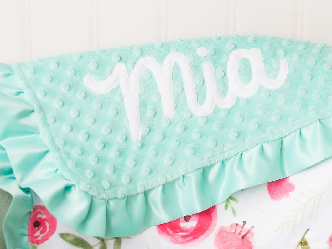 Mint Pink Floral Personalized Lovey Blanket with Satin Ruffle