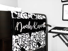 Load image into Gallery viewer, Black and White Music Notes Personalized Baby Boy Blanket