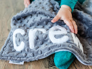 Gray Adventure Awaits Personalized Lovey Blanket