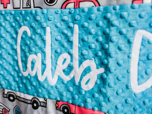 Rescue Vehicles Personalized Baby Boy Blanket