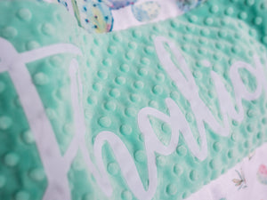 Mint Cactus Personalized Baby Girl Blanket