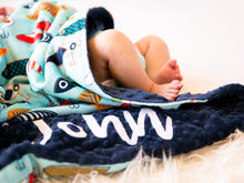 Load image into Gallery viewer, Fish Hooks Personalized Baby Boy Blanket