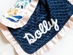 Navy Watercolor Floral Personalized Lovey Blanket with Satin Ruffle