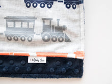 Load image into Gallery viewer, Navy Train Personalized Lovey Blanket