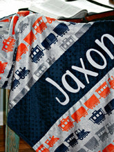 Load image into Gallery viewer, Navy Train Personalized Baby Boy Blanket