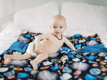 Load image into Gallery viewer, Blue Space Themed Personalized Baby Boy Blanket