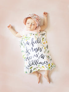 Wildflower Quote Floral Personalized Lovey Blanket