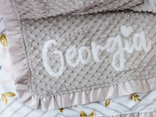 Load image into Gallery viewer, Gray and Peach Floral Personalized Baby Girl Blanket with Satin Ruffle