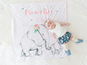 Pink Elephant Personalized Baby Blanket