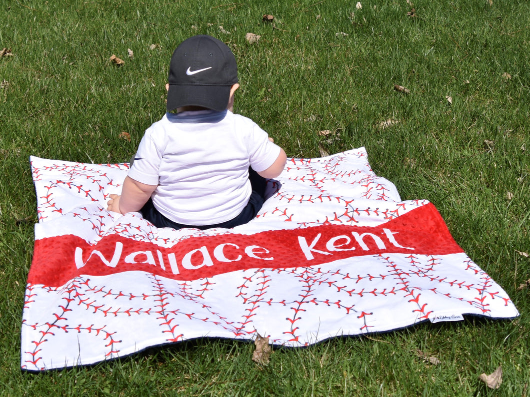 Baseball Themed Personalized Baby Boy Blanket with Custom Colors