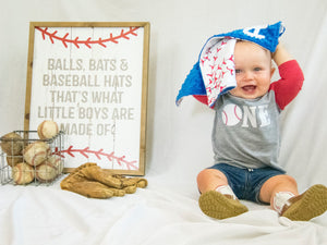 Personalized Baby Boy Baseball Lovey Blanket with Custom Colors
