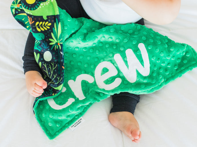 Green Dinosaur Personalized Lovey Blanket