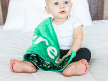 Load image into Gallery viewer, Green Dinosaur Personalized Lovey Blanket