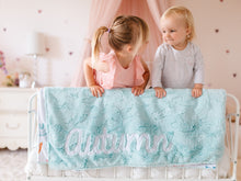 Load image into Gallery viewer, Aqua Fur Rainbow Baby Blanket with Personalized Name