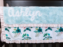 Load image into Gallery viewer, Aqua Coral Floral Baby Girl Minky Blanket with Satin Ruffle