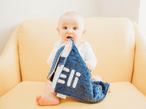 Navy Train Personalized Lovey Blanket