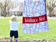 Load image into Gallery viewer, Baseball Themed Personalized Baby Boy Blanket with Custom Colors
