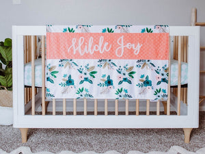 Coral and Green Floral Personalized Baby Girl Blanket