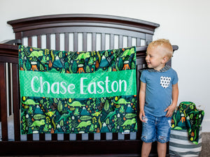 Green Dinosaur Personalized Baby Boy Blanket