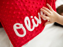 Load image into Gallery viewer, Red Christmas Deer Personalized Lovey Blanket