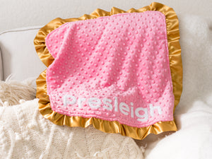 Rainbow Baby Personalized Lovey Blanket with Gold Satin Ruffle