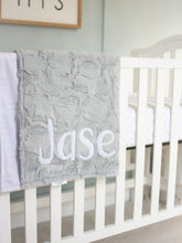 Load image into Gallery viewer, Neutral Gray Baby Blanket with Personalized Name
