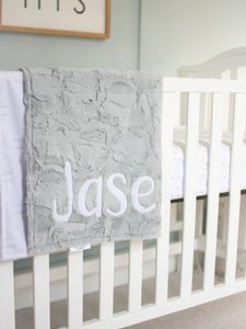 Neutral Gray Baby Blanket with Personalized Name