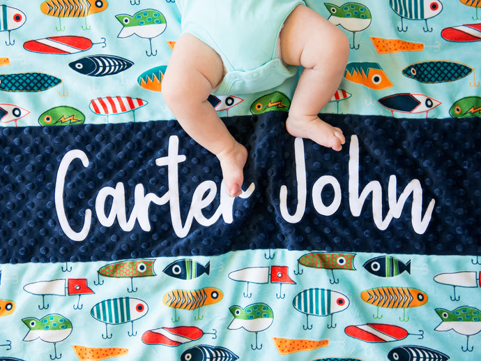 Fish Hooks Personalized Baby Boy Blanket