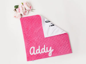 Small I Love You Personalized Lovey Blanket with Custom Color on Back
