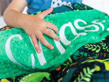 Load image into Gallery viewer, Green Dinosaur Personalized Baby Boy Blanket