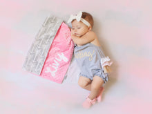 Load image into Gallery viewer, Gray Arrows Personalized Lovey Blanket with Custom Color on Back