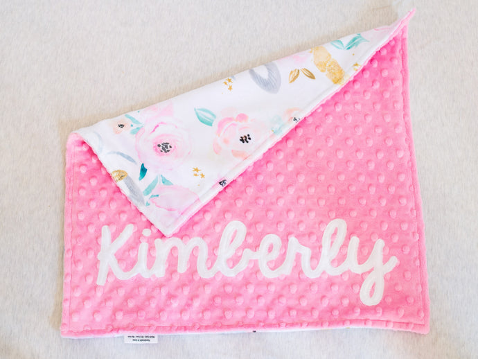 Pink Unicorn Floral Personalized Lovey Blanket