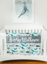 Load image into Gallery viewer, Gray Whale Personalized Baby Boy Blanket