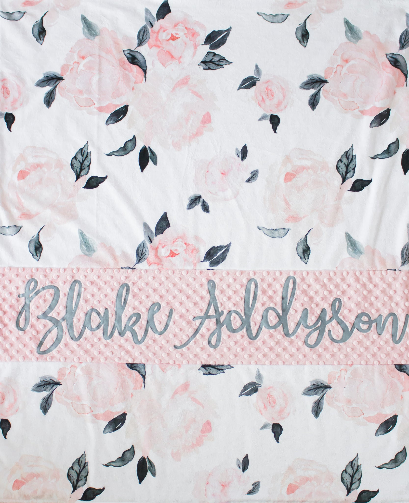 Pale Pink and Gray Floral Baby Girl Swaddle Blanket Personalized Baby Blanket Receiving Blanket Hayley Print