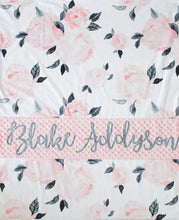 Load image into Gallery viewer, Pink and Gray Floral Personalized Baby Girl Blanket