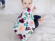 Load image into Gallery viewer, Burgundy Floral Personalized Lovey Blanket