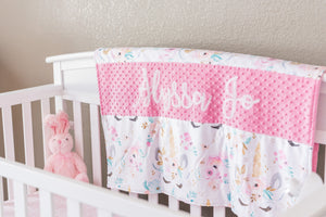 Pink Floral Unicorn Personalized Baby Girl Blanket