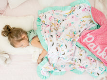 Load image into Gallery viewer, Pink Unicorn Personalized Minky Blanket with Satin Ruffle