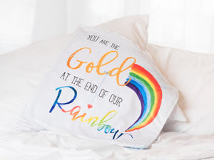 Rainbow Baby Personalized Lovey Blanket with Custom Color on Back