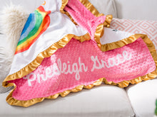 Load image into Gallery viewer, Rainbow Baby Personalized Minky Blanket with Gold Satin Ruffle