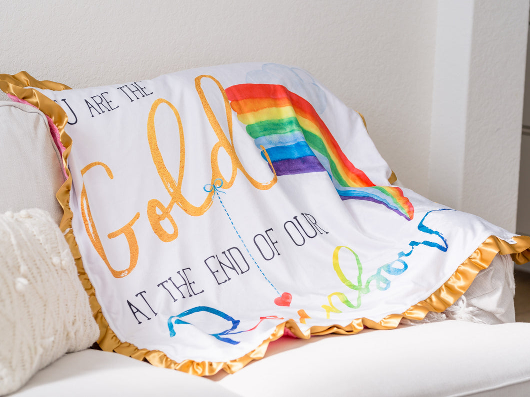 Rainbow Baby Personalized Minky Blanket with Gold Satin Ruffle