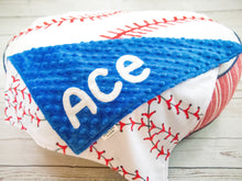 Load image into Gallery viewer, Personalized Baby Boy Baseball Lovey Blanket with Custom Colors