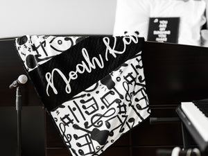 Black and White Music Notes Personalized Baby Boy Blanket