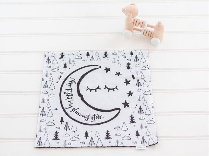 Sleep Tight Moon and Stars Personalized Lovey Blanket with Custom Color on Back