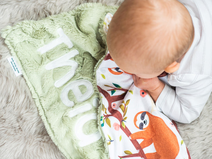 Sloth Personalized Baby Lovey Blanket